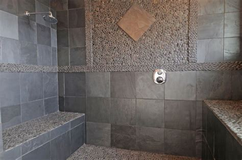 slate tile bathroom designs black riven slate tiles tile other metro by nustone
