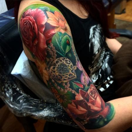 realistic flower tattoo junkies studio tattoos brent