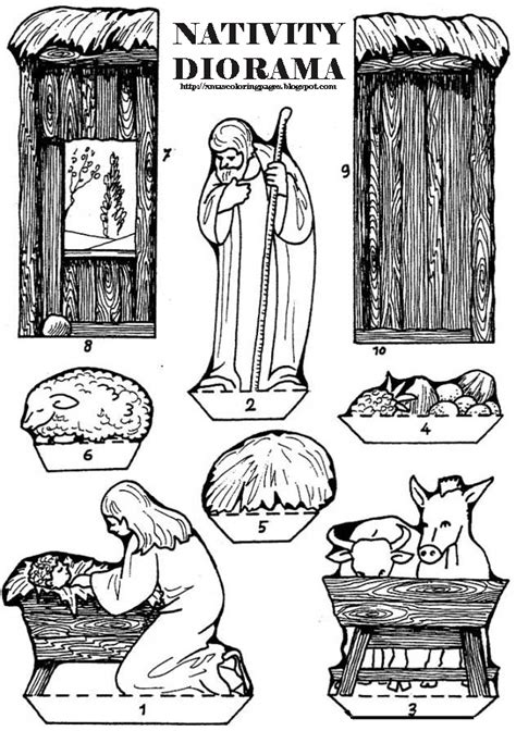 printable nativity diorama xmas coloring pages