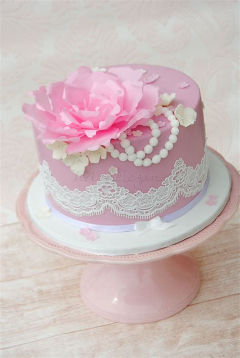 Edible Wafer Paper vintage cake with lace and wafer paper flower