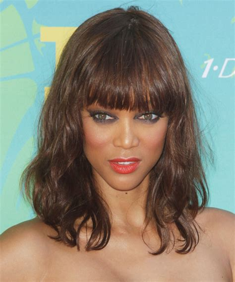 tyra banks with fringe bangs short hairstyle 2013 curly layered wavy haircut over 40 short hairstyle 2013