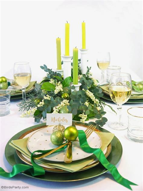 green table decorations green gold tablescape ideas