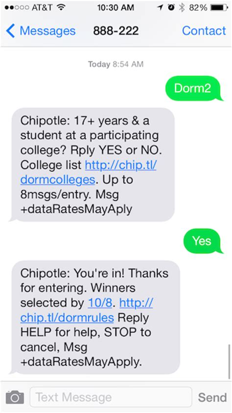 Giveaway Text - sms giveaway exle chipotle tatango
