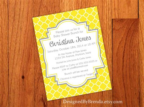 grey and yellow baby shower invites quatrefoil bridal or baby shower invitations yellow and