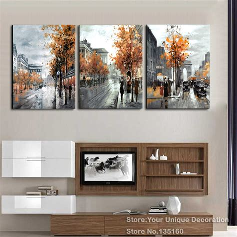 home decor canvas painting abstract city street landscape 3 piece painting calligraphy vintage abstract city street