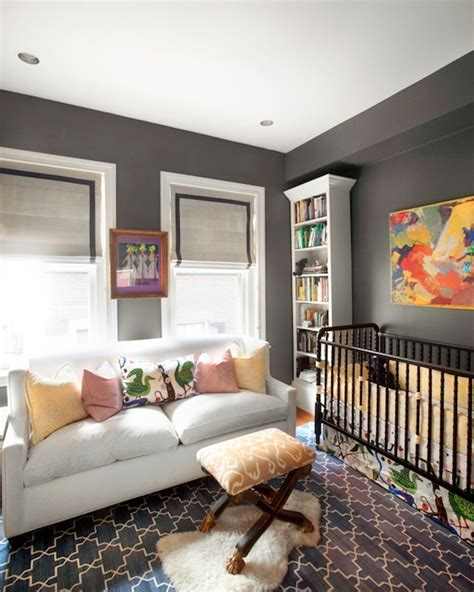 charcoal gray paint color contemporary nursery farrow pipe erin gates design