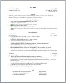 Sle Resume For Receptionist by Hairdresser Receptionist Resume Sales Receptionist
