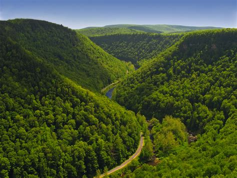 Small American Towns by File Pine Creek Gorge Tioga County As Seen From The West