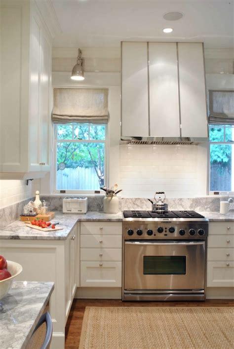 Kitchen Between Windows White Kitchen Transitional Kitchen Design Galleria