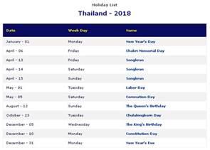 Calendar 2018 Thailand Thailand 2018 Printable Calendar 171 Printable Hub