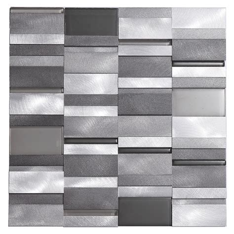 modern backsplash tile aluminum tile silver mix modern pattern kitchen
