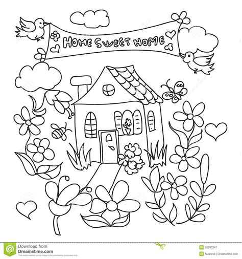 the sweethome sheets sweet home doodles coloring page stock illustration illustration of page garden 55287247