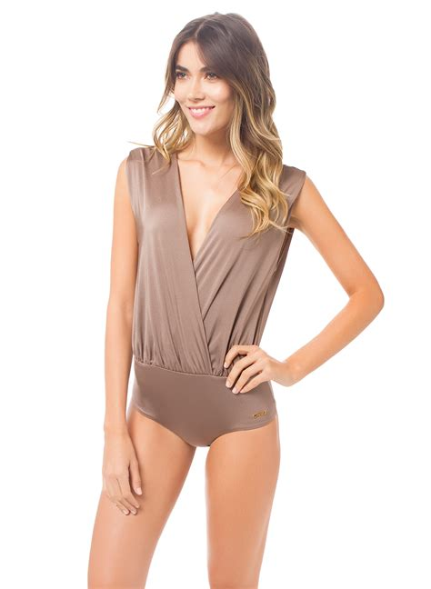 draped bodysuit saha glossy brown draped crossover bodysuit festiva stardust