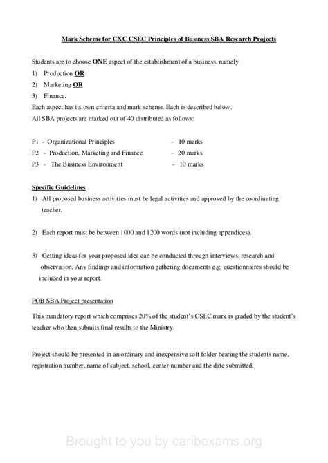 cxc pob sba template with mark scheme