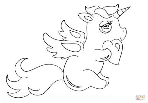 Dibujo De Unicornio Chibi Con Coraz 243 N Para Colorear