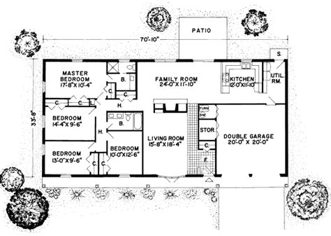 small rectangular house plans traditional style house plan 4 beds 2 baths 1954 sq ft