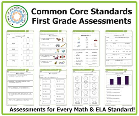 Common Math Worksheets 1st Grade by Grade Common Assessment Workbook