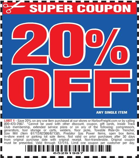 harbor freight 20 percent coupon
