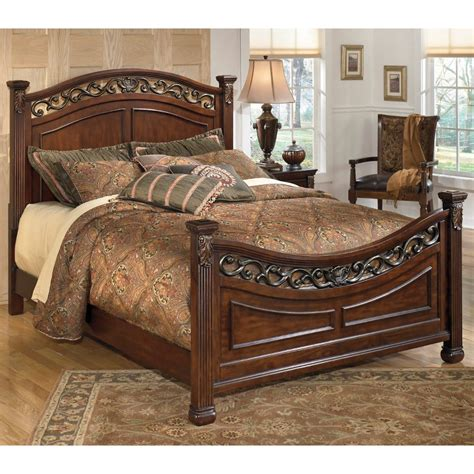 ashley bed ashley furniture leahlyn queen panel bed in brown local