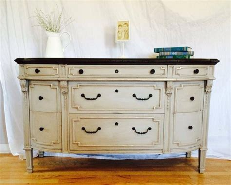 buffet in linen milk paint and brown glaze effects general finishes design center
