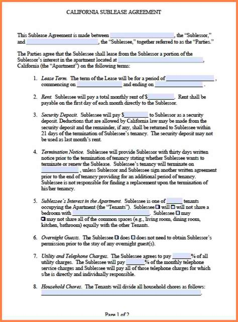 agreement in word 5 commercial sublease agreement template word purchase