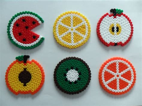 melty bead designs fruit salad coasters hamabeads http floresdecelofan