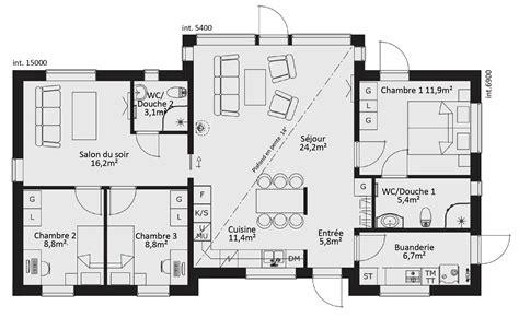 Plan De Maison 5 Chambres by Plan Maison Moderne 5 Chambres Plans De Maisons Ou Villas