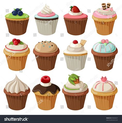 set of delicious cupcakes with different toppings isolated on white background stock vector