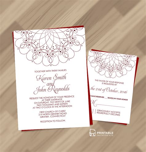 printable invitation kits spiral ornament border wedding invitation and rsvp