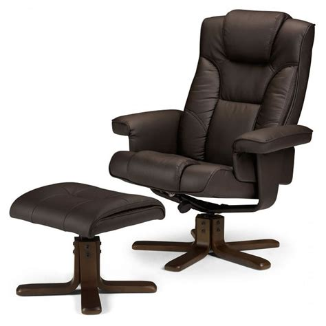 leather reclining armchair and footstool malmo swivel