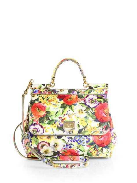Dg Dolce And Gabbana Floral Canvas Satchel by Dolce Gabbana Miss Sicily Floral Leather Bag In