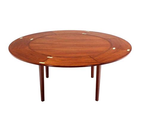 Expanding Tables by Rare Danish Modern Teak Round Expandable Top Dining Table