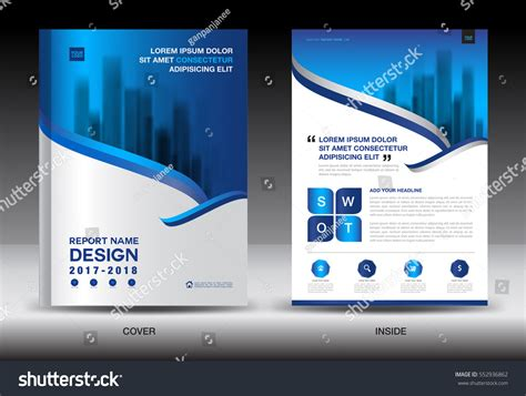 Annual Report Brochure Flyer Template White Stock Vector 552936862 Shutterstock Ads Report Template