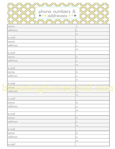 7 best images of phone contact list printable printable