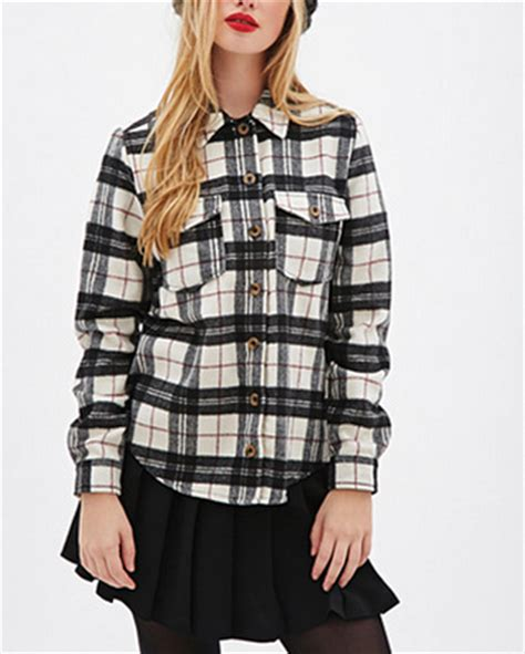 Promo Fashion White Flanel black and white plaid flannel shirt wholesale