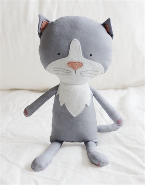 Handmade Soft Toys Free Patterns - cat sewing pattern kitten softie plush cloth doll pattern