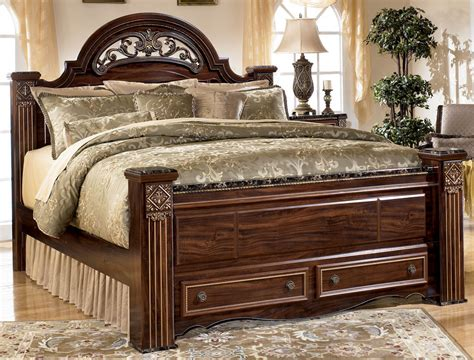 queen size poster bedroom sets gabriela queen size poster bed with storage footboard by