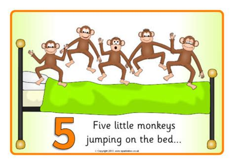 5 monkeys jumping on the bed five little monkeys jumping on the bed visual aids sb9272