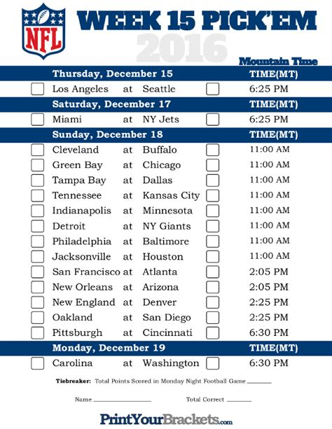 printable nfl schedule pick em mountain time week 15 nfl schedule 2016 printable