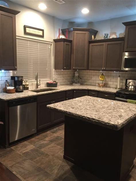 bellingham cambria quartz countertops  dark brown cabinets ranch kitchen remodel kitchen
