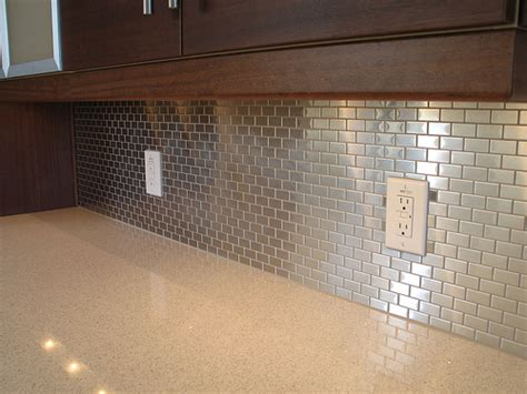 Aluminum Kitchen Backsplash Shining Your Kitchen Using Beautiful Backsplash Designs Metal Tile Backsplash Home Decoration