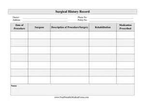 printable surgical history record