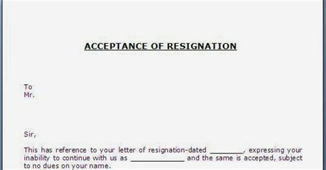 Resignation Acceptance Letter India Every Bit Of Acceptance Of Resignation Letter