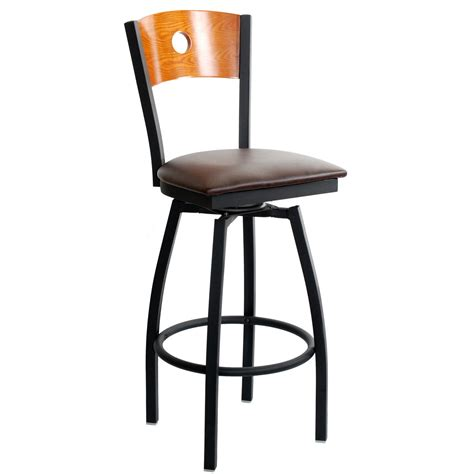 Brown Leather Bar Stools With Back Furniture Square Brown Leather Swivel Bar Stools With