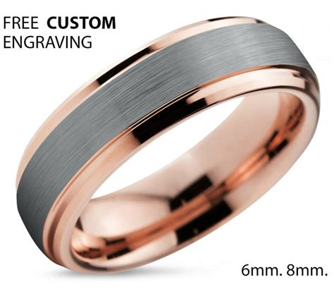 18k Gold Wedding Band by Tungsten Ring Gold Wedding Band Ring Tungsten Carbide