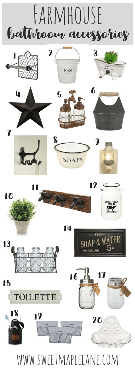 list of accessories in kitchen and bathrooms farmhouse bathroom accessories sweet maple lane