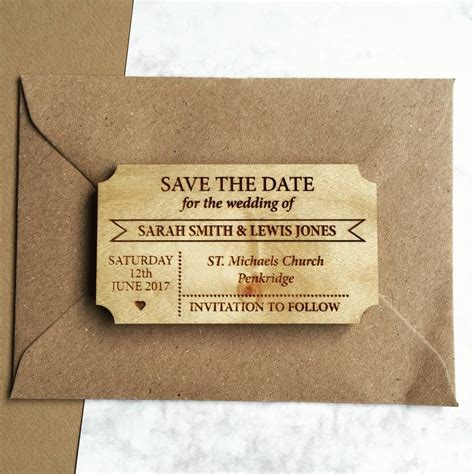 Save The Date by Simple Ticket Wooden Save The Date Magnet By Design By