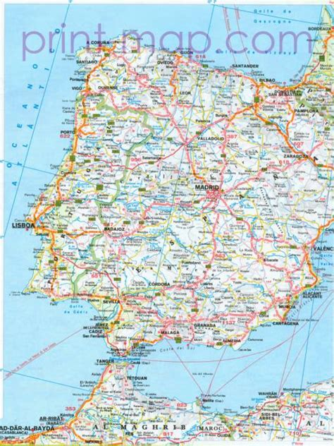 printable road map of portugal portugal map road