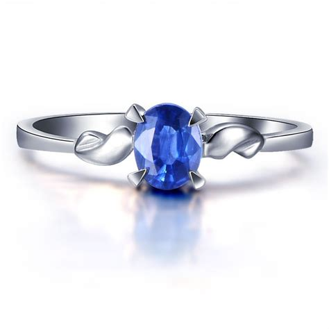 beautiful solitaire sapphire engagement ring on 10k white