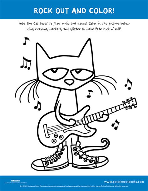 Pete The Cat Rock On And rock out and color with pete the cat pete the cat